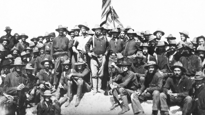Col. Theodore Roosevelt and his Rough Riders moments after capturing Kettle Hill. (Library of Congress)