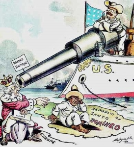 Political cartoon showing T.R. checking Europe's attempt to grab the New World, a response that would prove far less casual in actuality.