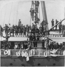 When ordered to wait their turn, Roosevelt defied orders and told his men to board the steamship Yucatan en route Cuba. (National Archives)
